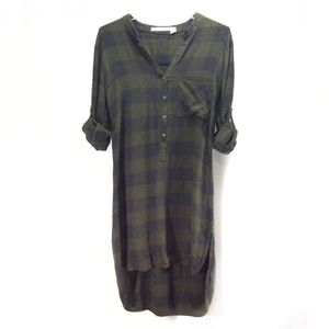Chelsea & Violet Long Tunic Plaid Button Flannel